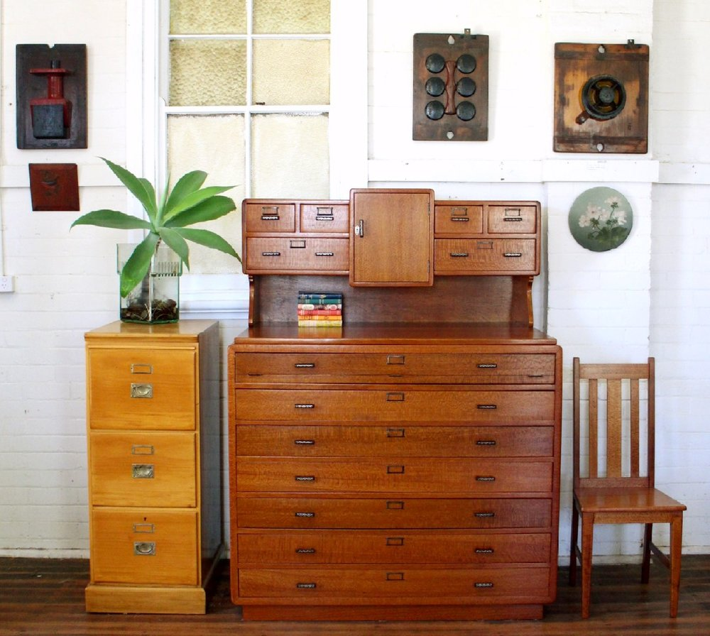 Vintage Silky Oak Map Drawers 3