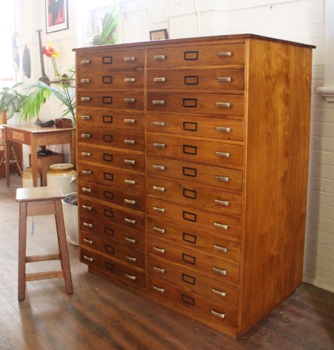 A hard to find set of Australian Coachwood Filing Drawers with original hardware , circa 1940.  Restored at polish . 1310mm wide x 710mm deep x 1490mm height  $6250