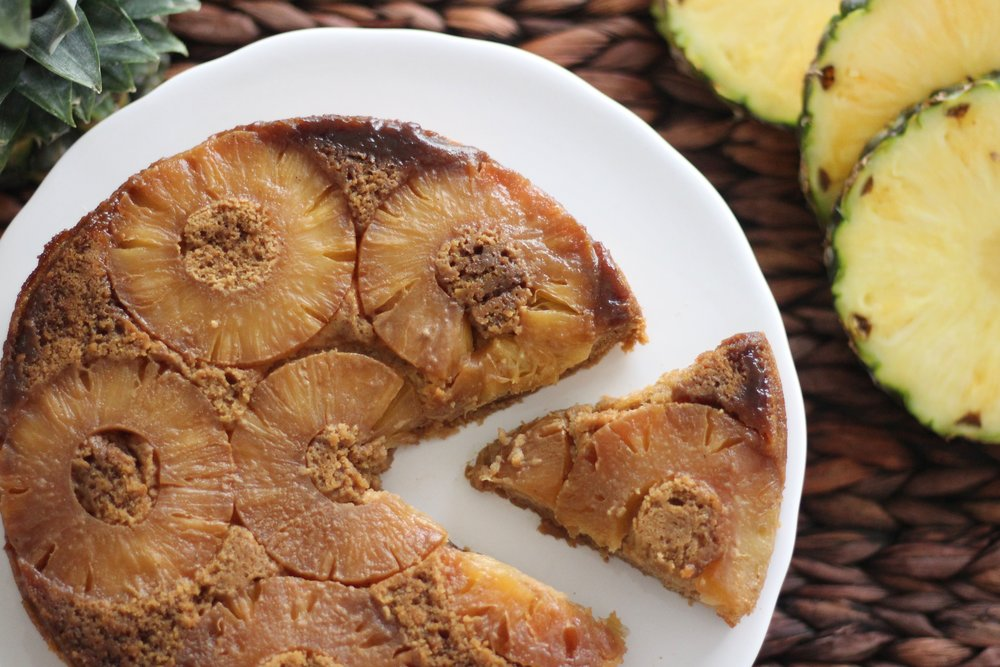 Gluten-free nut-free Paleo pineapple upside down cake