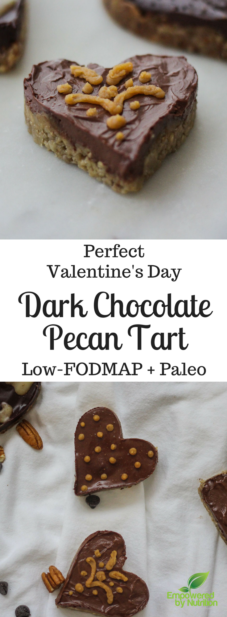 Dark Chocolate Pecan Tart Paleo, Low-FODMAP and Gluten-free-Perfect for Valentine's Day