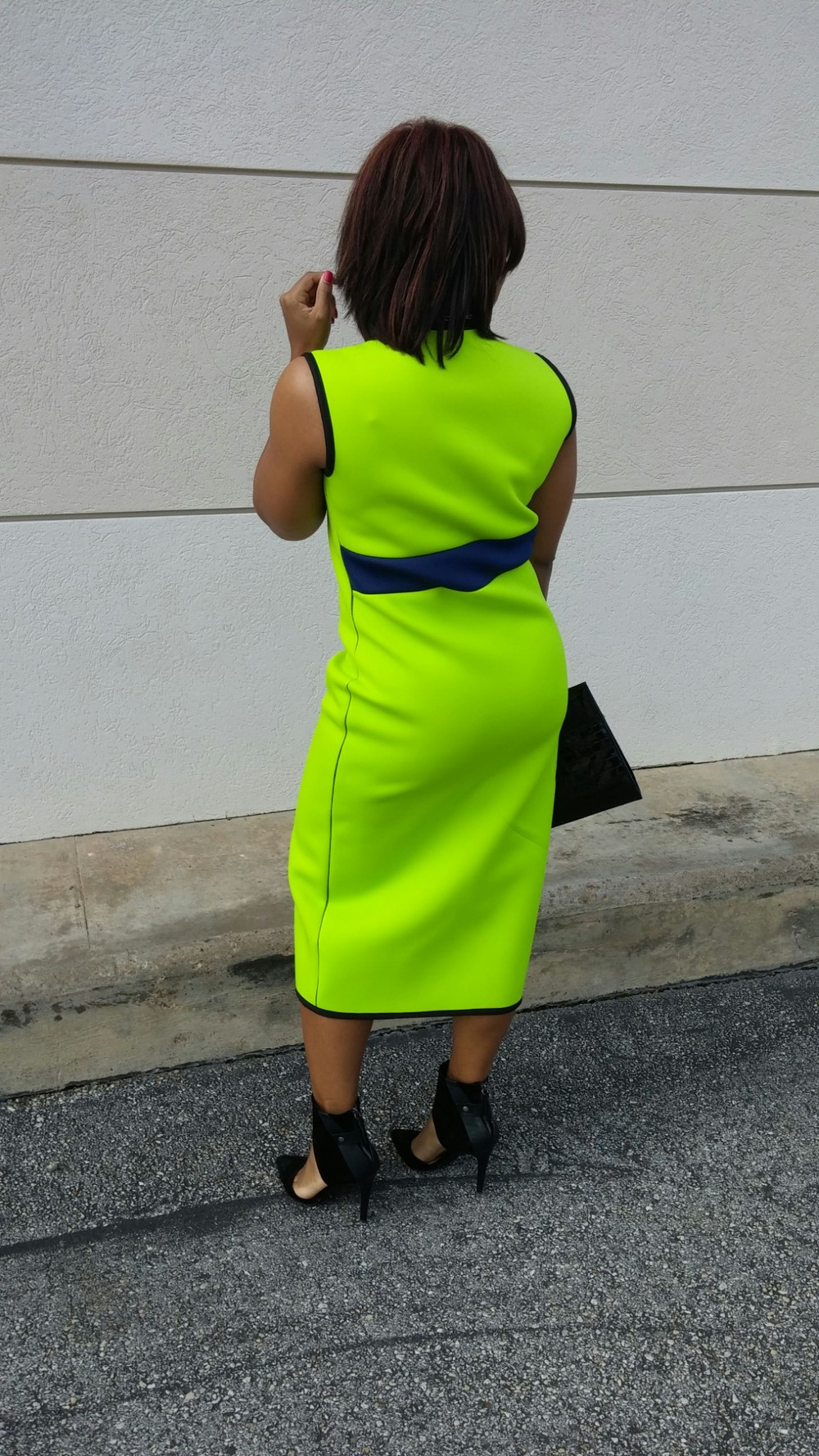 Neon Green Neoprene Dress by 3degreesdb.com