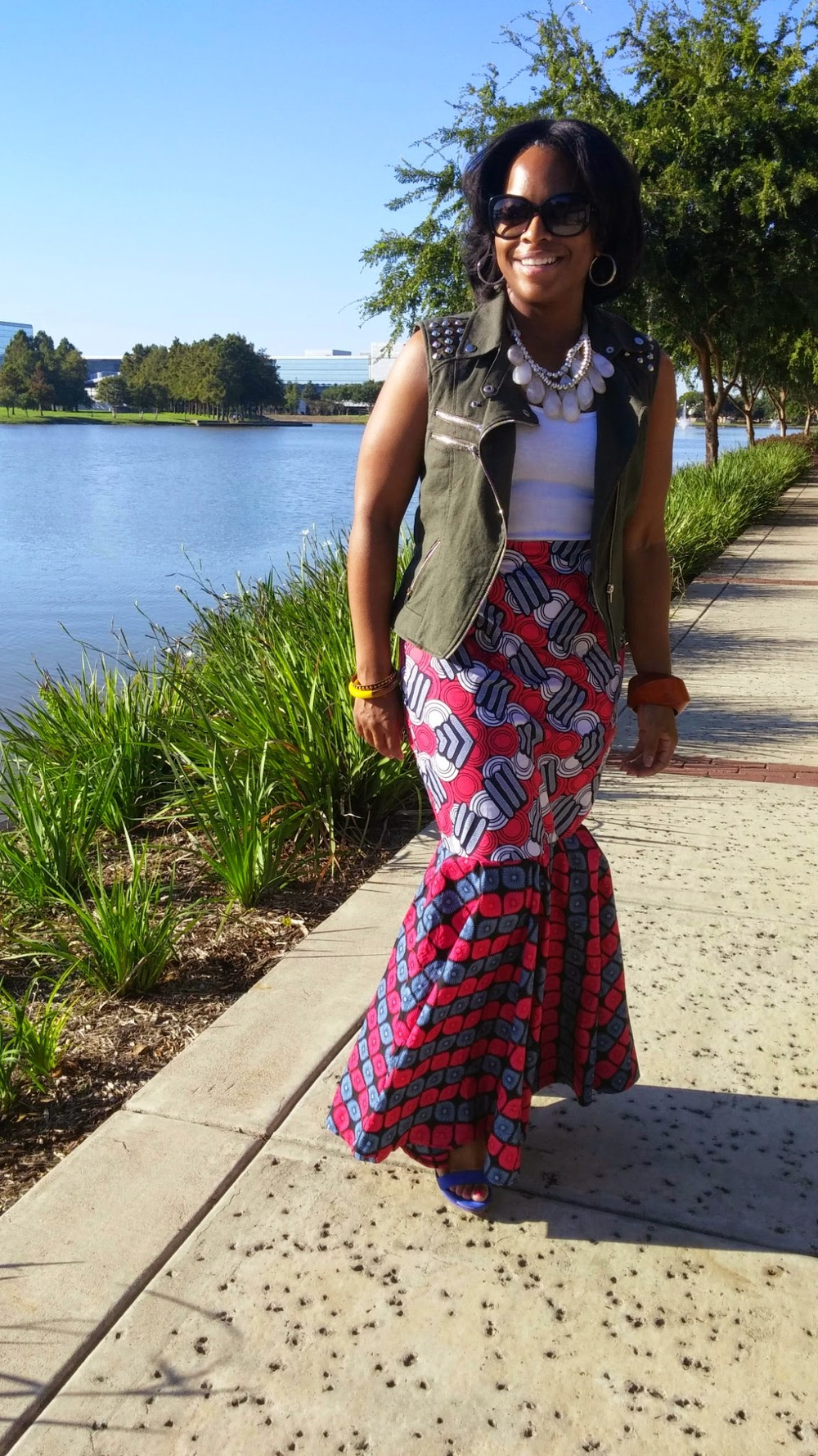 DIY Ankara Print Hourglass flounce skirt on www.3DegreesDB.com