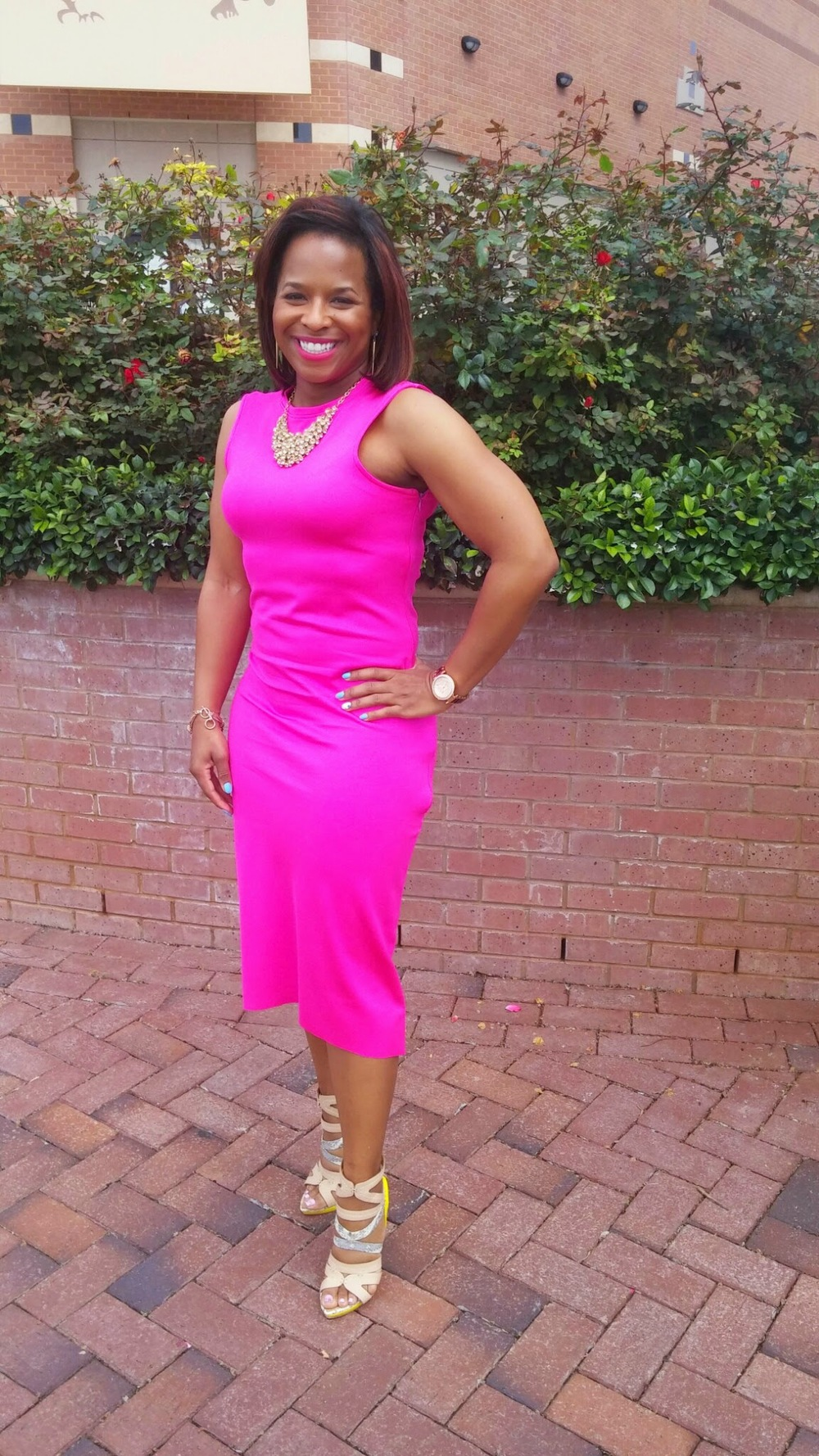 DIY Hot Pink Midi Dress on www.3DegreesDB.com
