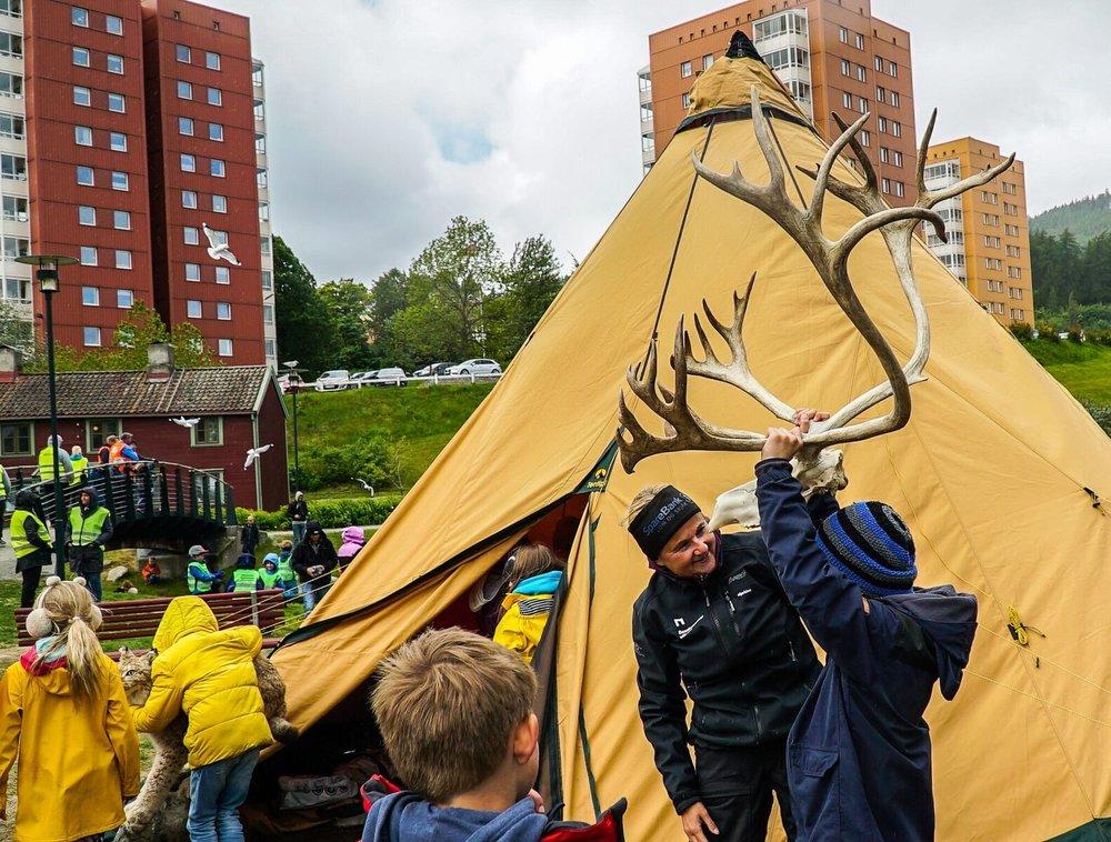 Naturveiledningen foregår både i uteområdene til villreinsenteret og i skolenes nærområde. Her formidles villrein og naturkunnskap i Ilaparken i Trondheim. Foto: Rebecca Nedregotten Strand