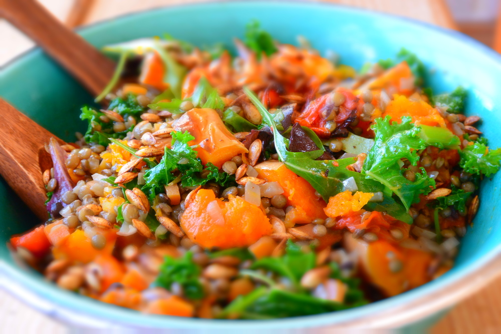 Roasted Squash and Tomato Salad with Lentils, Kale and Spicy Seeds ...