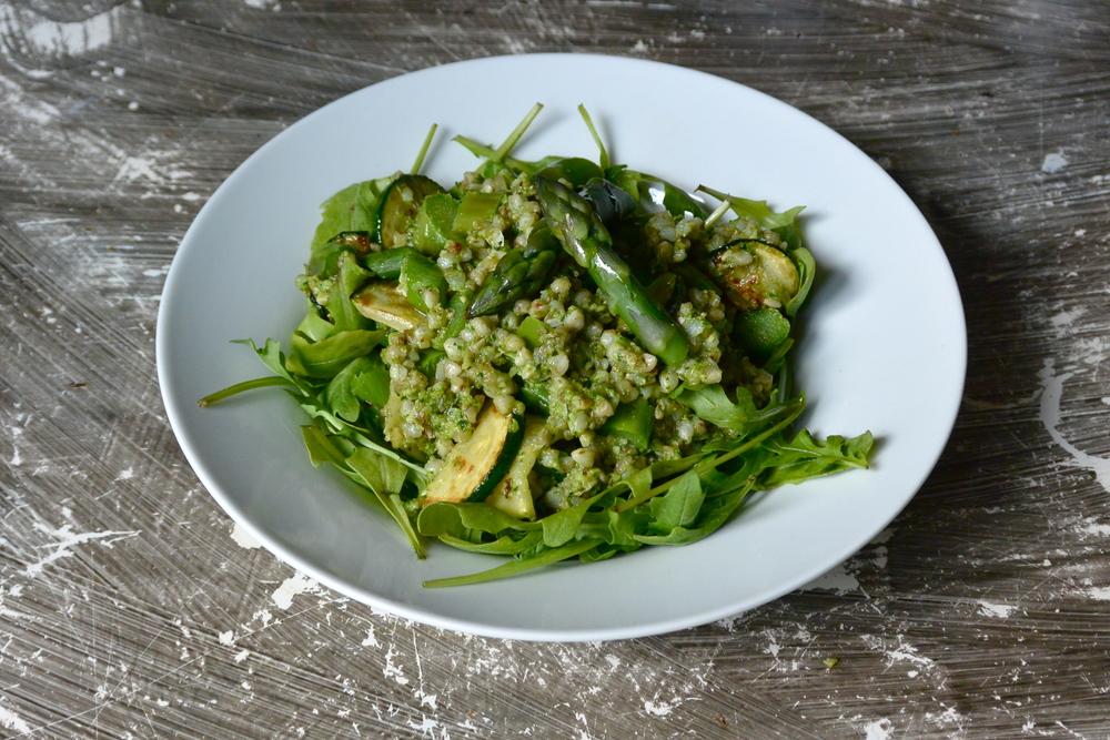Pesto asparagus risotto