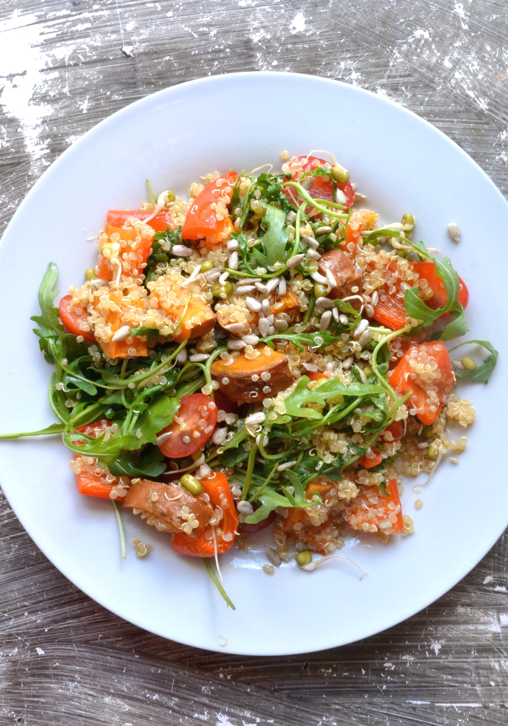 Roasted Pepper, Sweet Potato and Sprout Salad