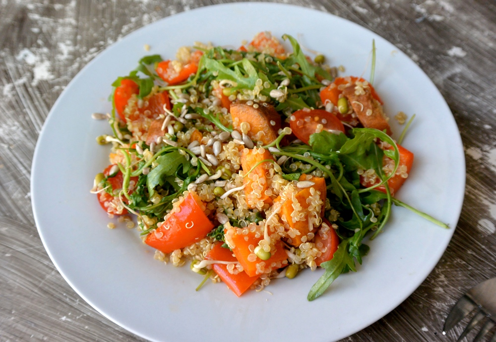 Pepper, Sweet Potato, Quinoa and Sprouted Mung Bean Salad
