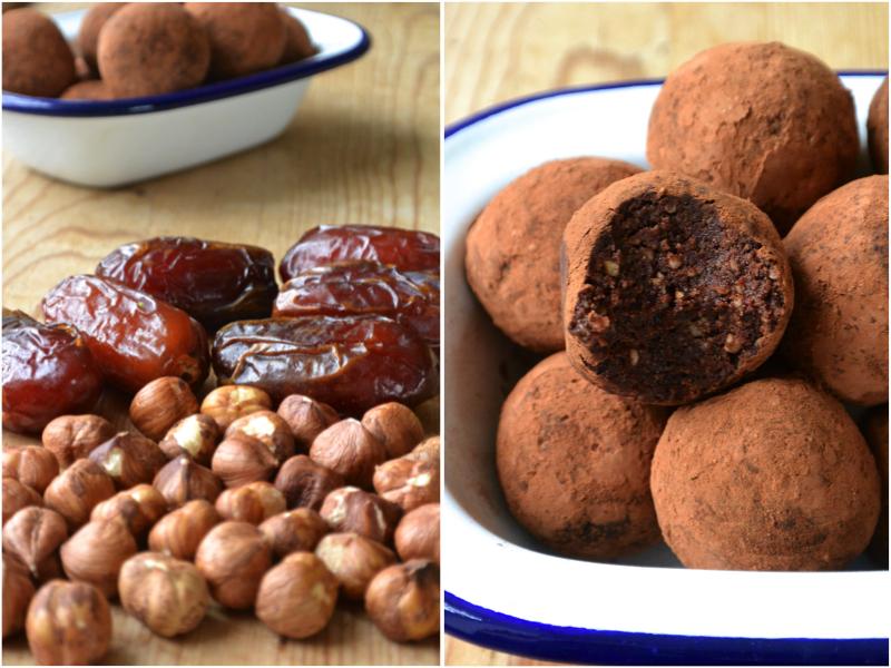 dark chocolate and hazelnut truffles