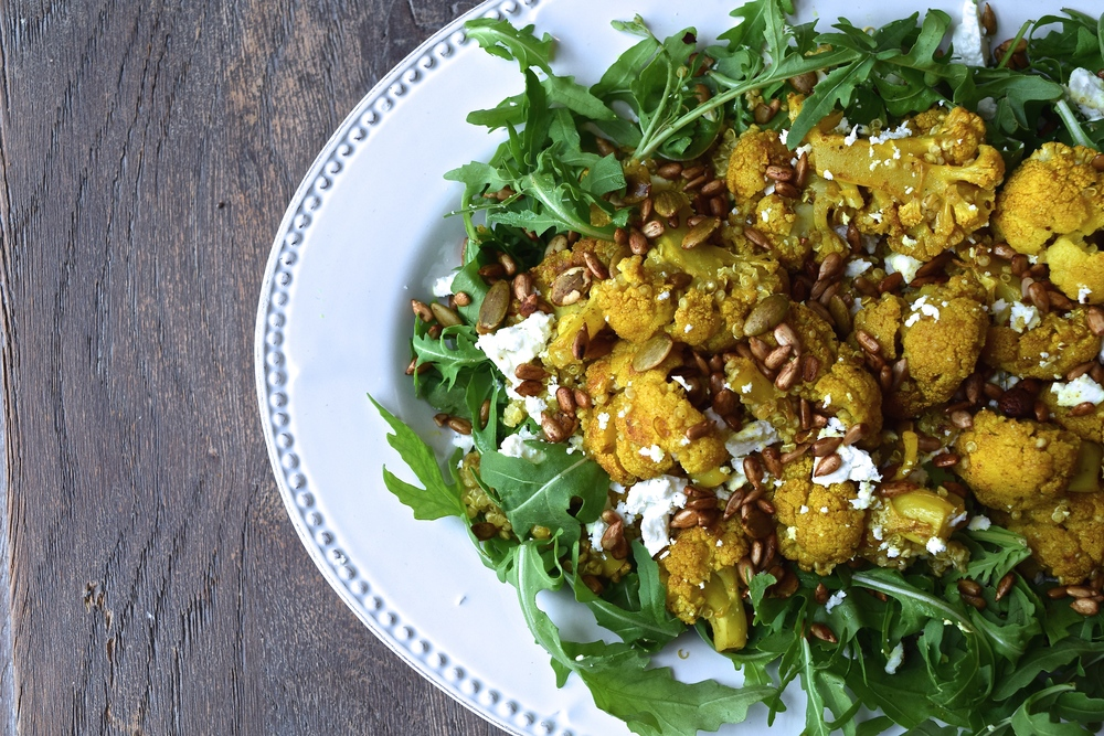 Roasted Cauliflower and Quinoa Salad with Crumbled Feta and Spicy Seeds | The Herb Diaries