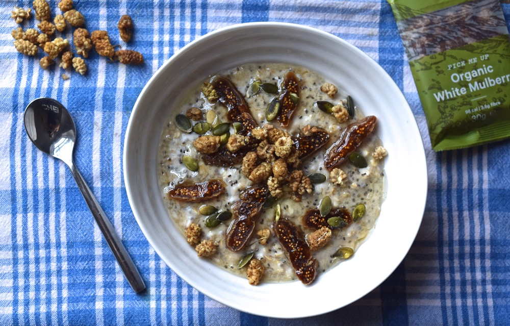 Maca Cashew Porridge with White Mulberries and Dried Figs | The Herb Diaries