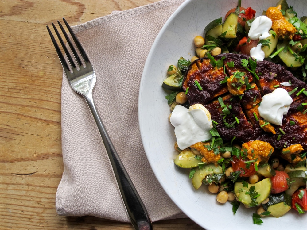 Harissa Roasted Aubergine with Herby Courgette and Chickpeas