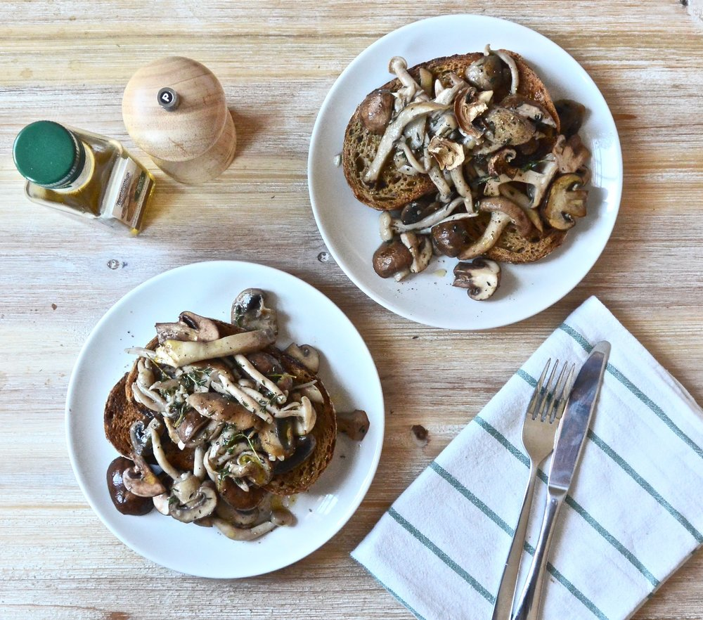 Creamy Truffle Thyme Mushrooms on Toasted Sourdough | The Herb Diaries