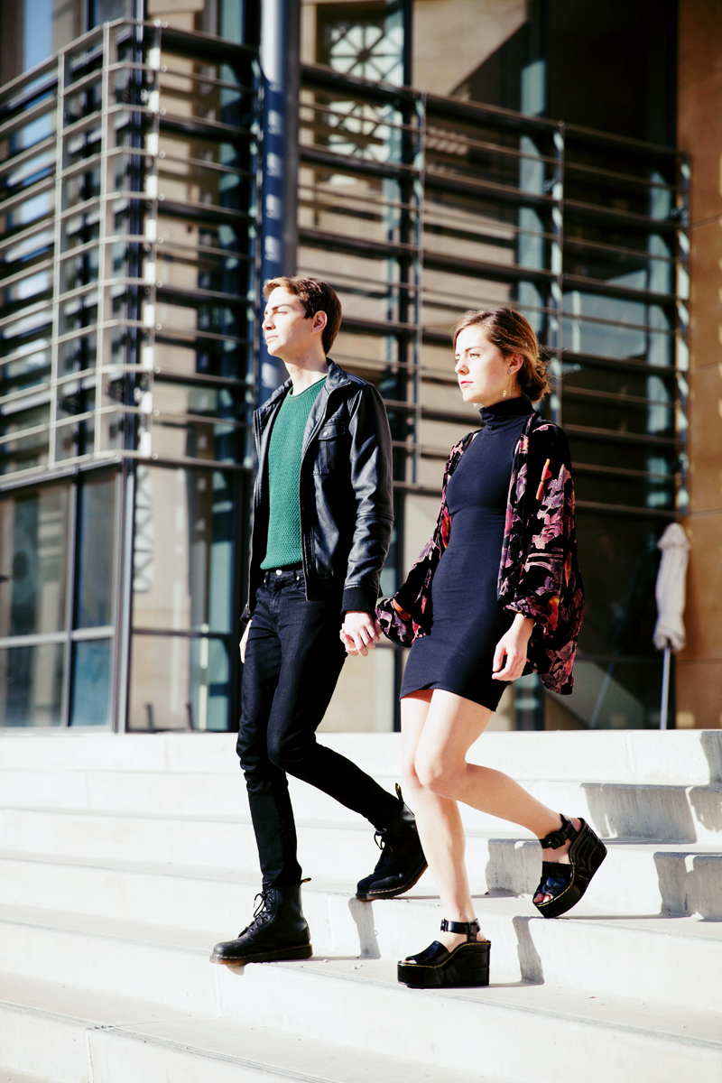 Ali: Pants, Levis, Sweater, Jacket  Anna: Dress, American Apparel, Kimono, Vintage, Shoes, Céline