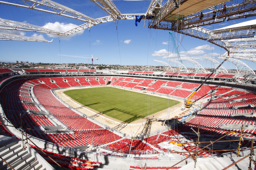 The Nelson Mandela Bay Stadium in Port Elizabeth during the construction stage. The stadium has a carrying capacity of 48 000 and hosted one of the Quarter final Matches. Image courtesy of: 2010 FIFA World Cup Organising Committee in South Africa