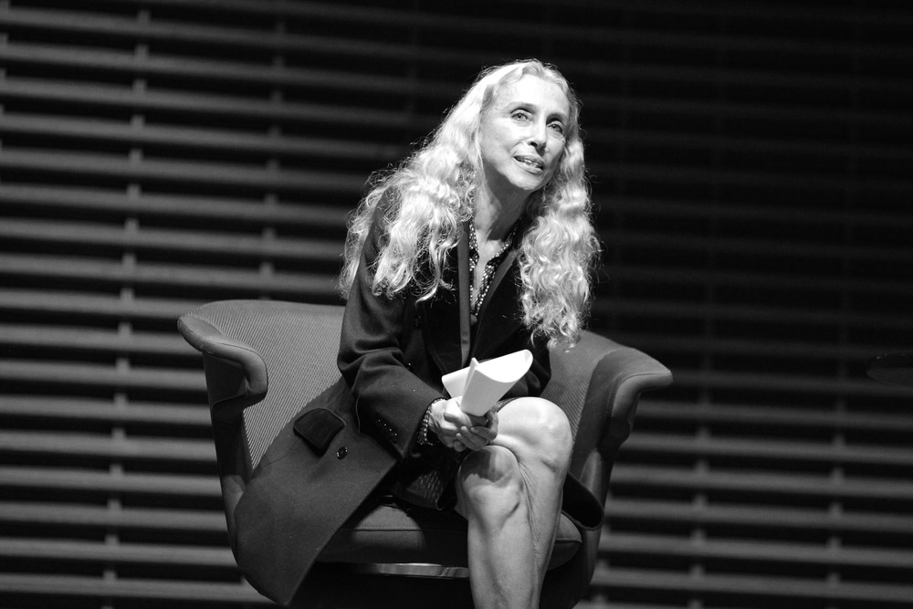 Franca Sozzani speaking at an event hosted by the Fashion At Stanford