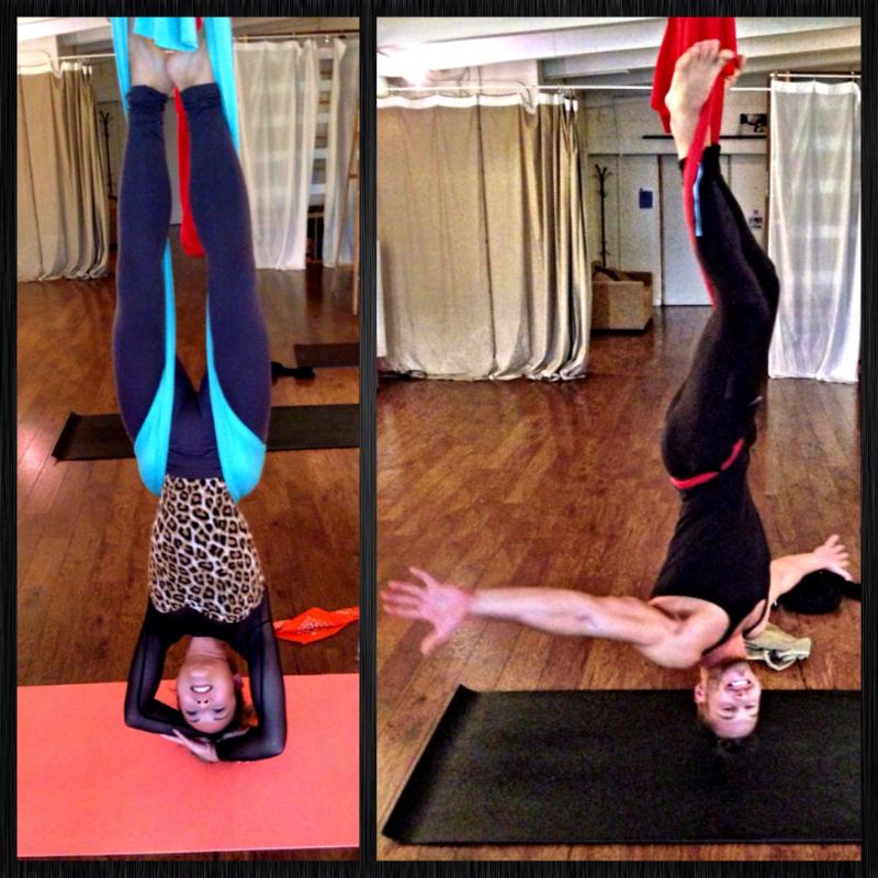 Justin, one of our writers and his girlfriend, Carly tried their hand at Aerial Yoga.