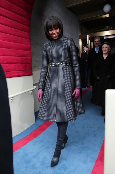 Michelle Obama wearing Thom Browne at President Obama's second inauguration. Image courtesy of glamour.com