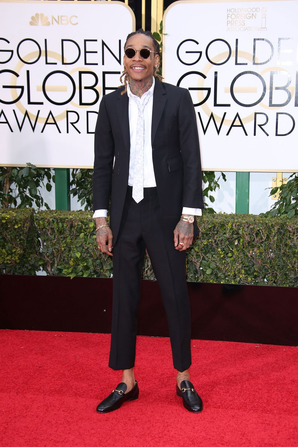 Wiz Khalifa at the 2016 Golden Globes Red Carpet (Vogue named him the best dressed man at the Globe) Image Courtesy of vogue.com