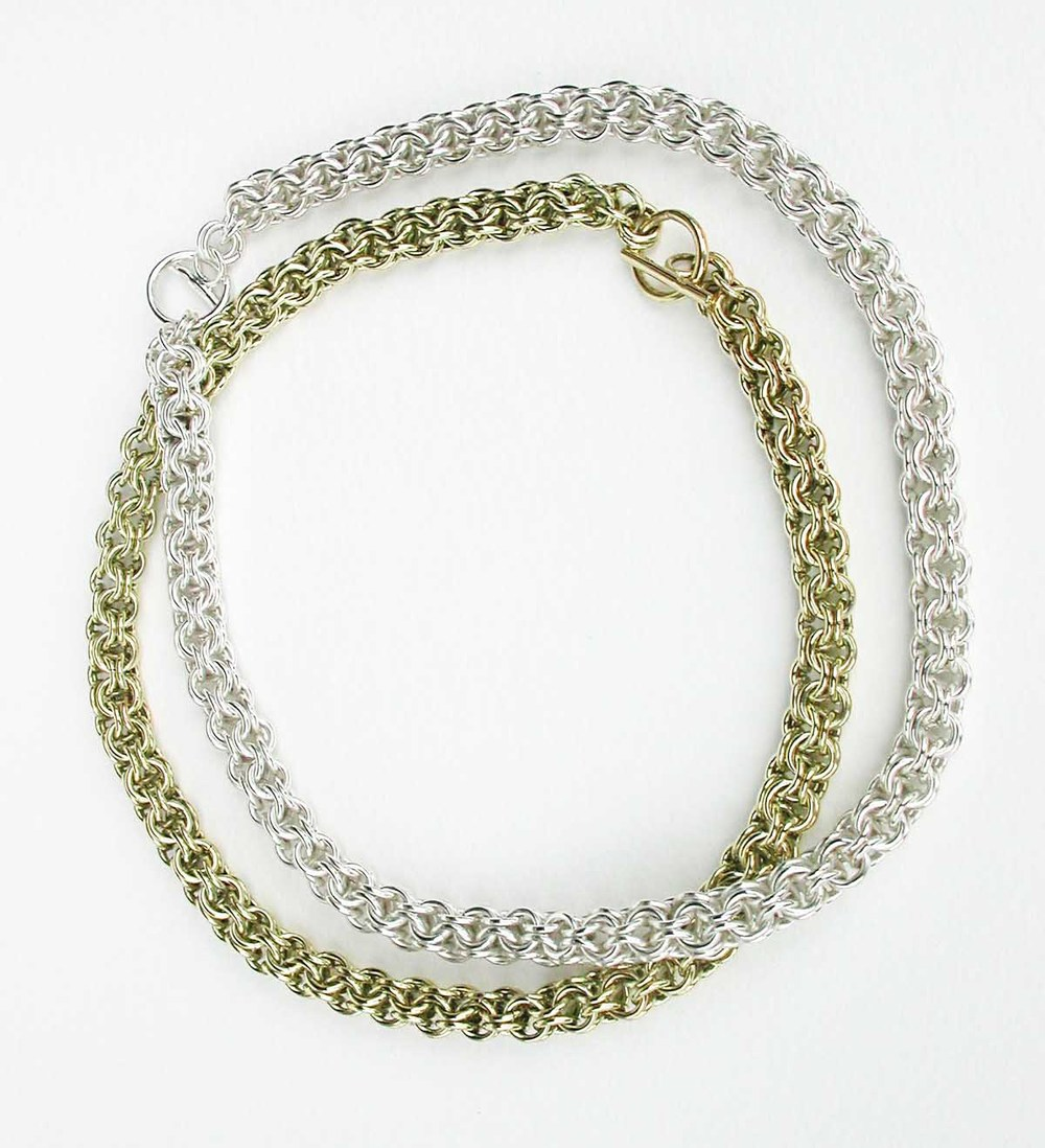 Silver and gold chainmail necklaces