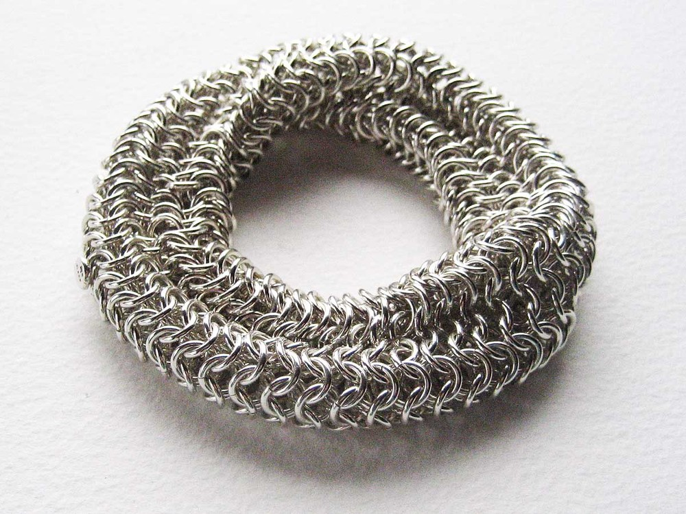Silver chain mail bracelet