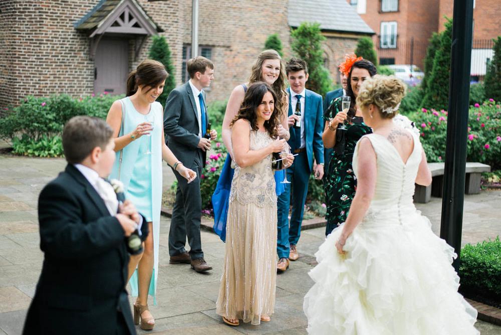 Greeting Guests at Ordsall Hall Wedding Venue