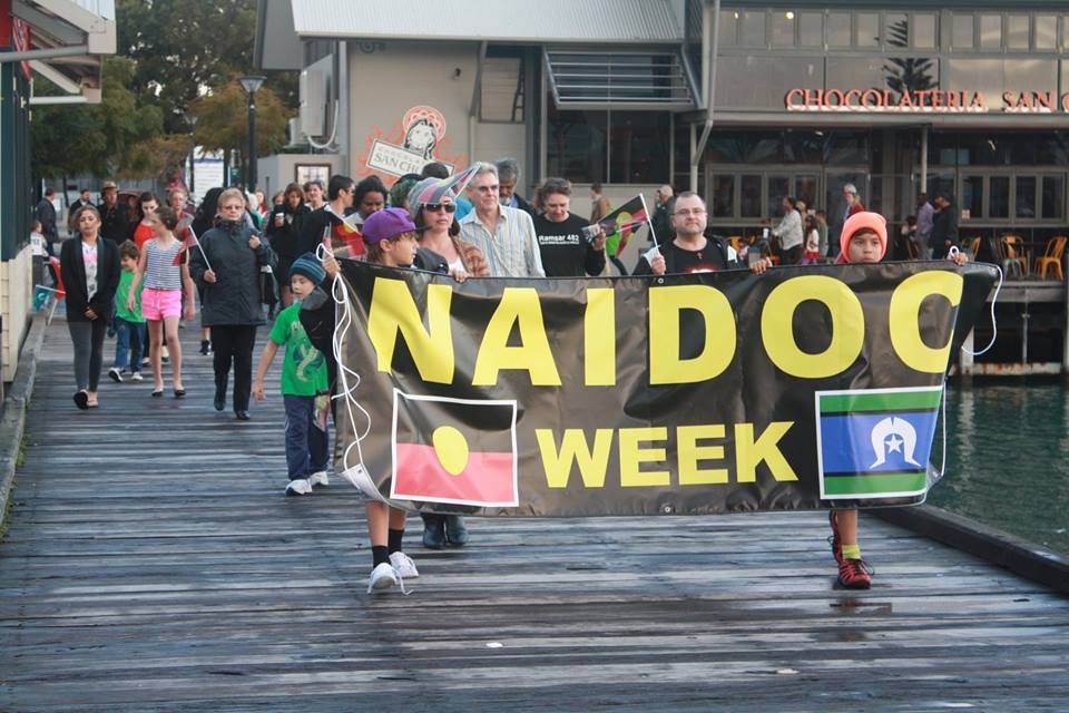 The NAIDOC walk from the Rotunda