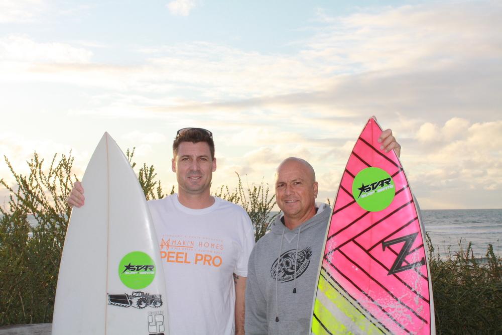 Brad Higgins Event organiser and Brian Williams - Event organiser and Club President of the Mandurah Board Riders Club.
