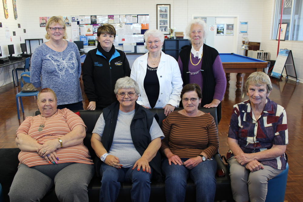 Peel Community Bingo WA members Carol Powers, Janet Kimber, Jo Hough, Doris Noyes (front) and Kaye Rowe, Shirley Davis and Valder Picking with Youth Development coordinator Sharron Jones (back).