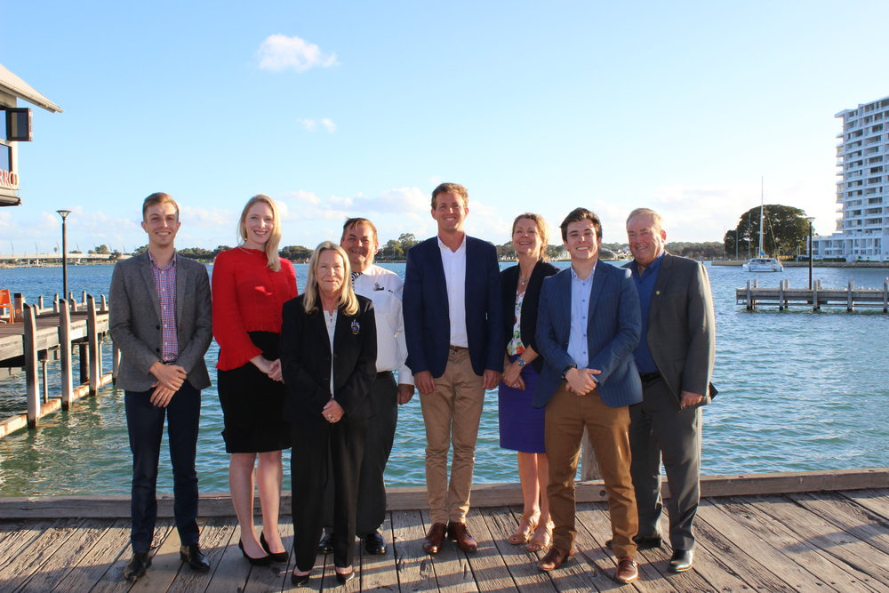 City of Mandurah Councillors Matt Rogers, Tahlia Jones, Lynn Rodgers, Merv Darcy, Mayor Rhys Williams, Deputy Mayor Caroline Knight, Peter Rogers and Hon. Fred Riebeling are encouraging the community to have a say on Mandurah's city centre waterfront revitalisation.