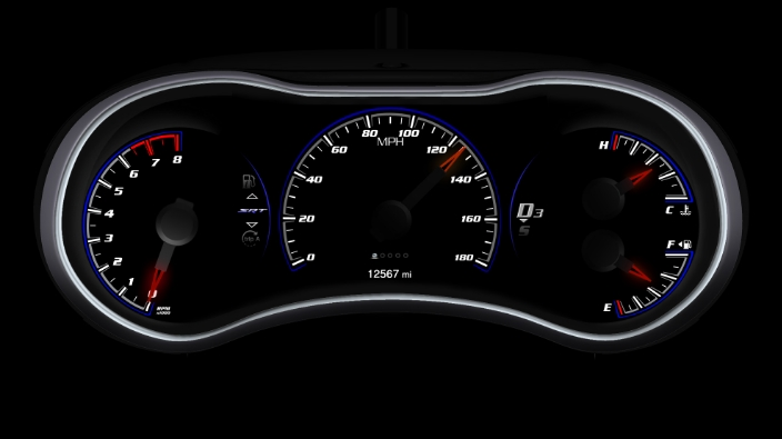 Jeep Grand Cherokee SRT8 analog gauge design