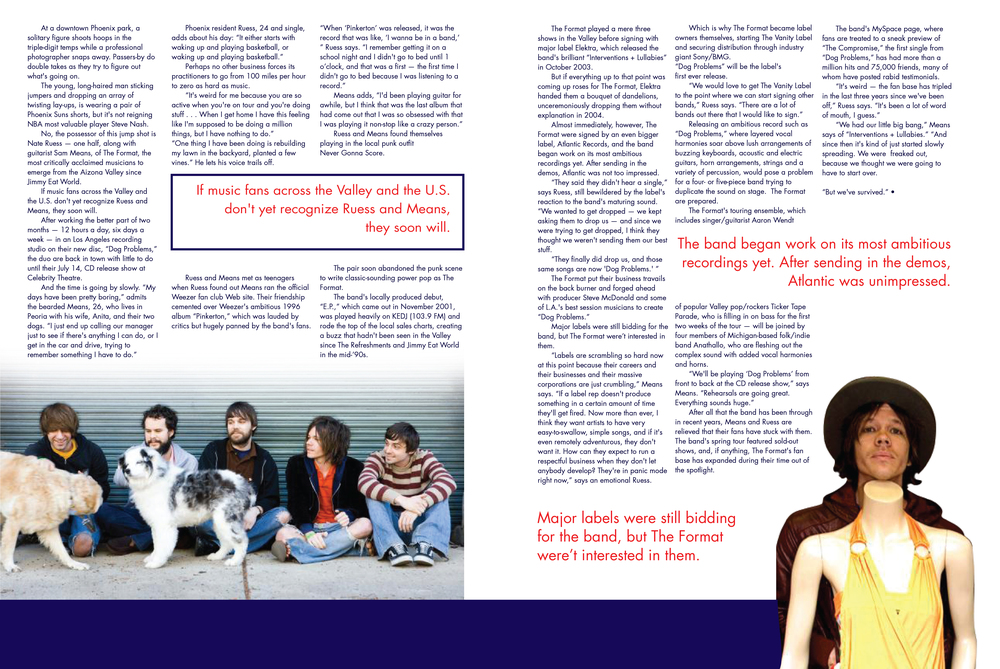Double page magazine spread for The Format
