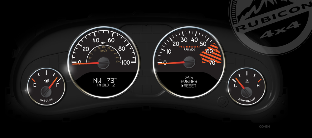 2013 Jeep Wrangler Rubicon 10th Anniversary Edition gauge design