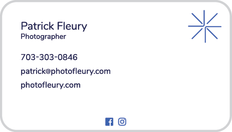 Patrick Fleury Photography Business Card Back