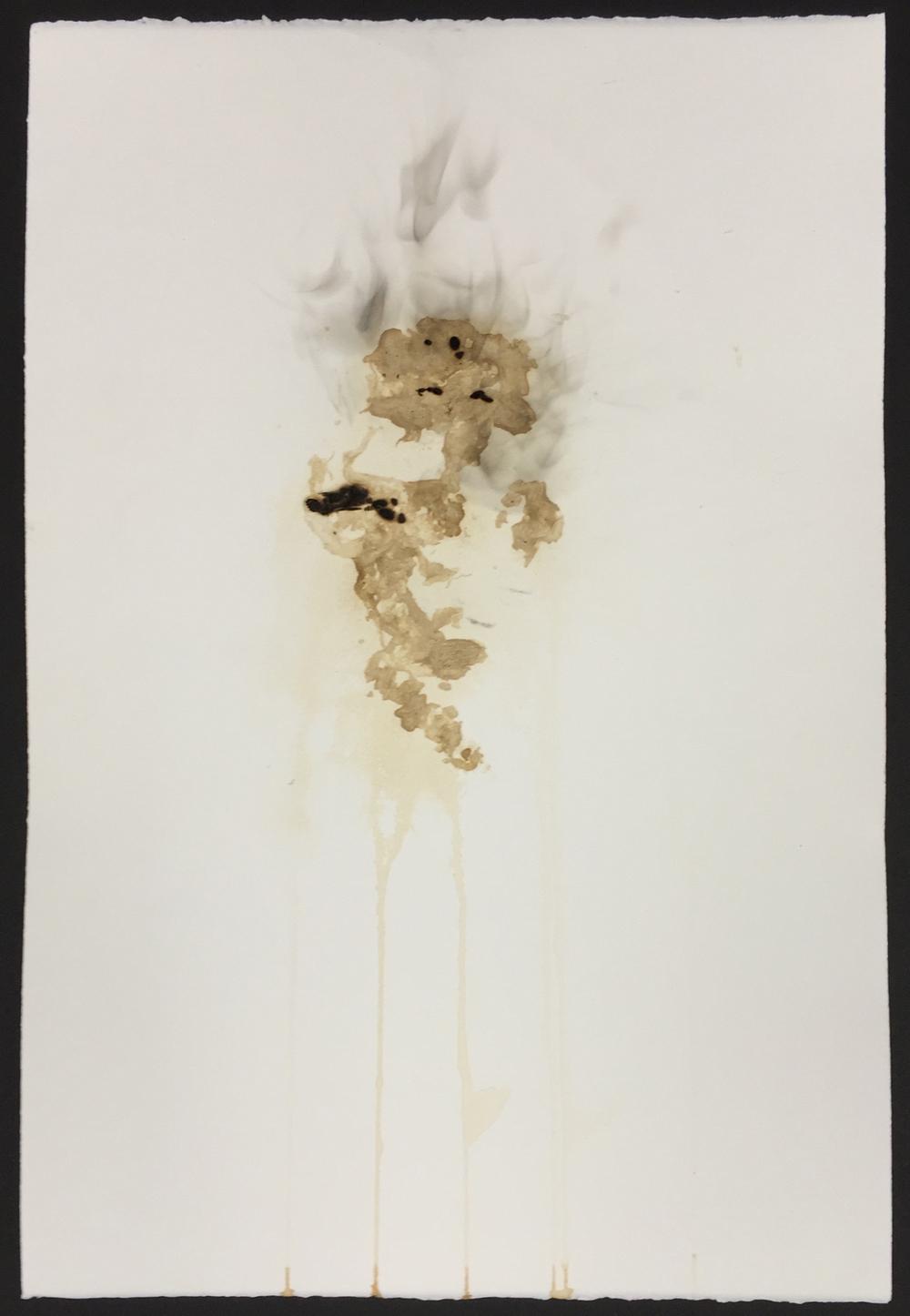 Tobacco print, smoke, scorched paper  15x22