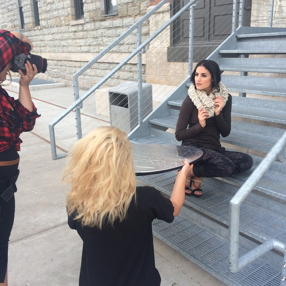 Diana catches the light for Amy to capture Nasreen modeling a scarf from Wool & Whiskey. Our last shot of the day.