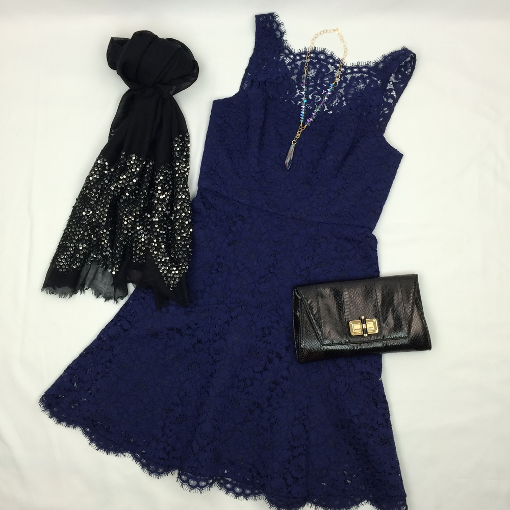 Mix of textures: lace, sparkle, and snakeskin - a fabulous corporate holiday party combo