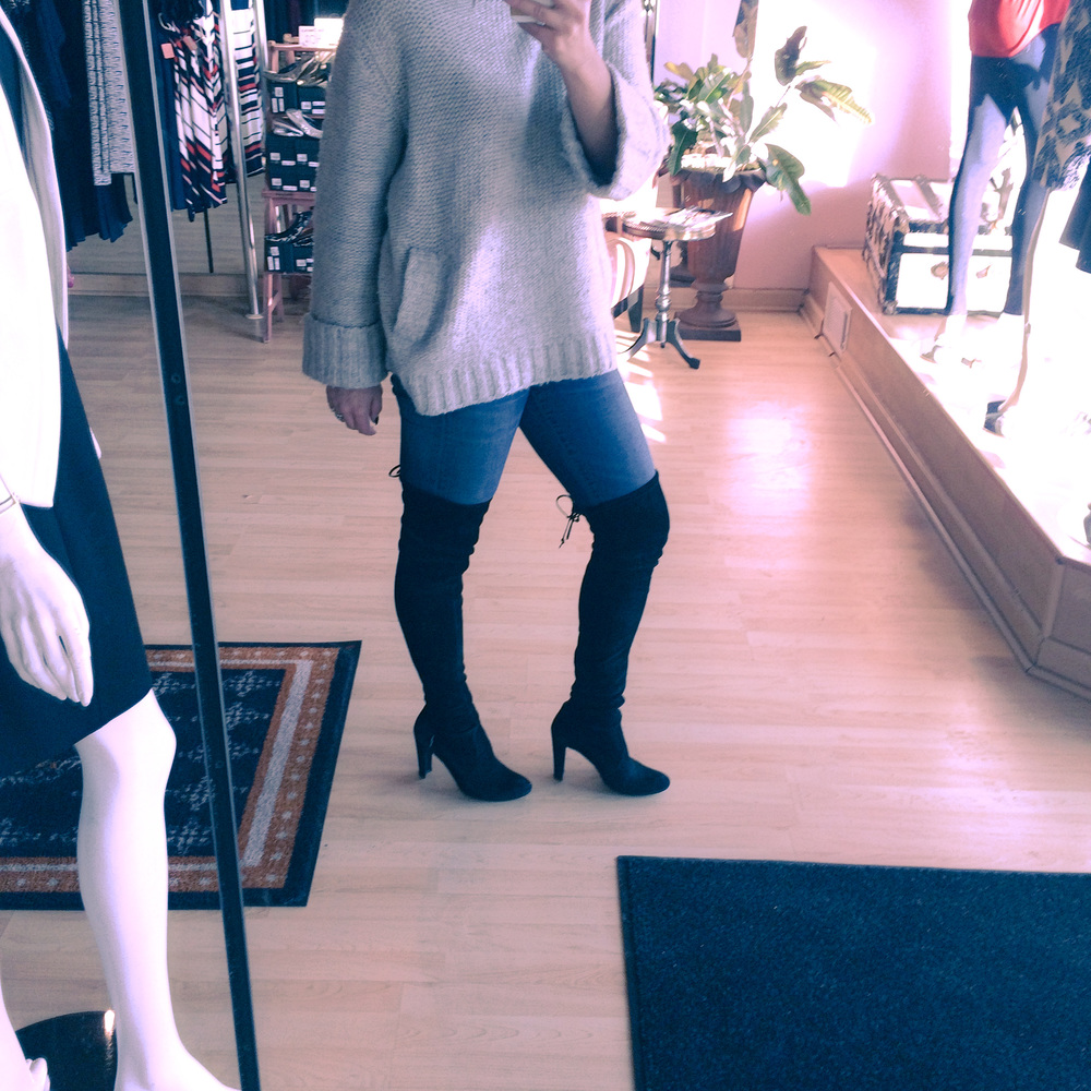 "Test driving the ""new winter standard"" - wearing Tibi sweater, Citizens Rocket, Stuart Weitzman Highland boots"