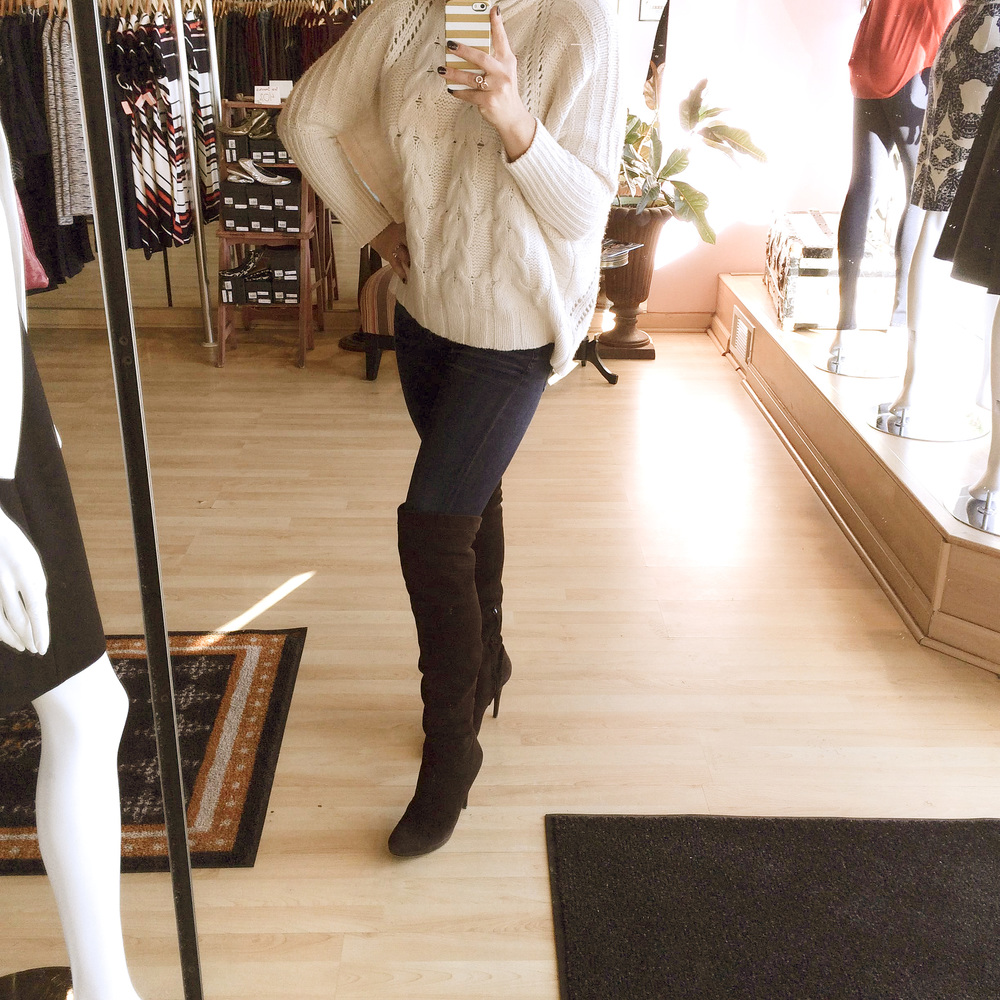 My coziest Autumn Cashmere sweater, James Jeans High Class Skinny & brown suede boots