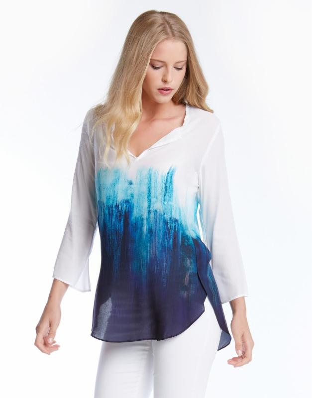Tie-Dye Split Hem Blouse by Fifteen Twenty