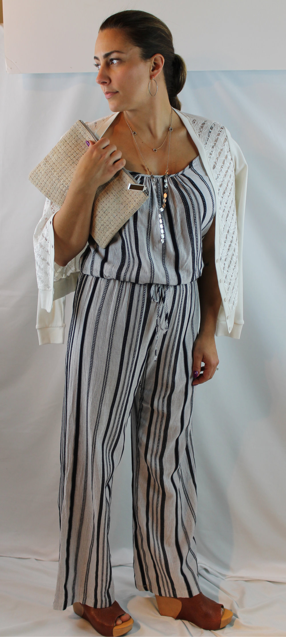 Click photo to shop this Fifteen Twenty stripe jumpsuit.