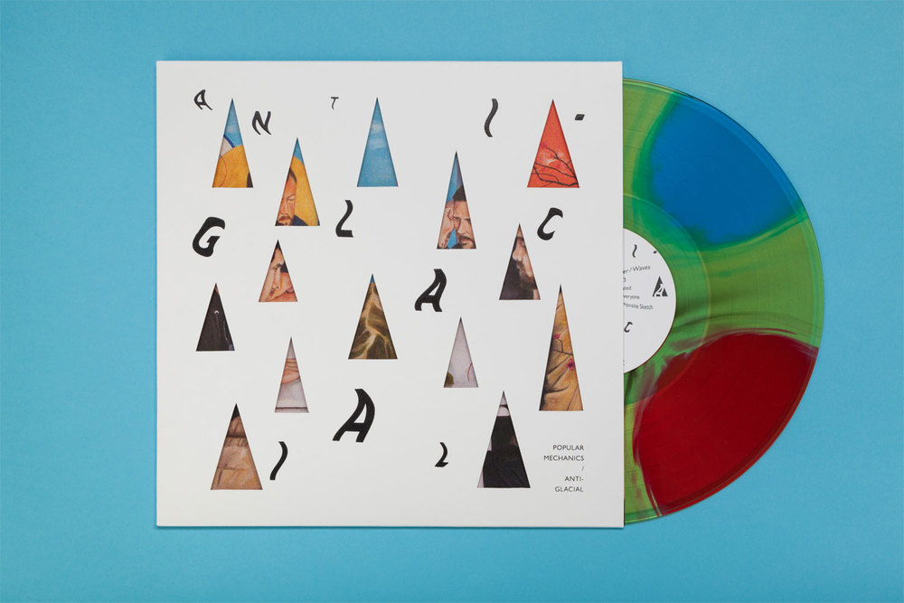 Artwork for   Anti-Glacial   by   Popular Mechanics  . Includes screen-printed and hand-cut covers, mixed-color vinyl, and insert by local painter   Andrew Brandmeyer  .