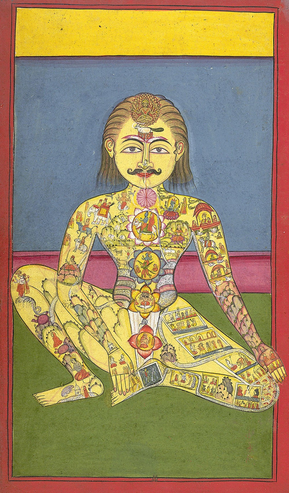 Sapta Chakra  — from a Yoga manuscript in Braj Bhasa language. Source:  The British Library