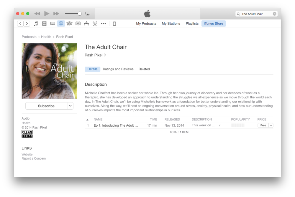 This is what The Adult Chair looks like in the iTunes Podcast Directory.