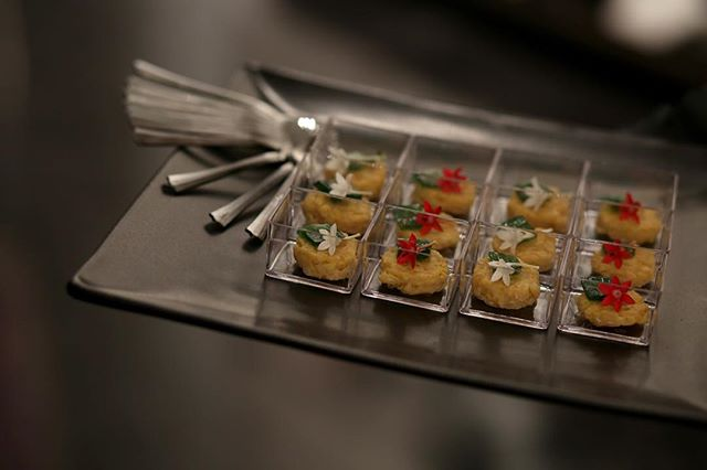 For the @banksy showcase at @tinneycontemporary, we designed creative passed appetizers that would impress gallery attendees. Pictured:  Orzotto Disk with Lemon Grass Gelee and Egyptian Star Flowers  #events #appetizer #passedappetizers #classic #occasion #wedding #events #eventplanning #nashvillefood #nashville #eventinspiration #luxury #art #streetart #nashvillecatering #eventcatering #corporate #artgallery #galleryshow #downtown