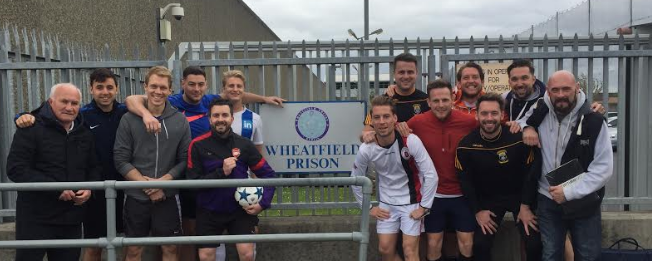The Linkedin Football team with Solas Project Youth Cultivator Dave Jackson & Volunteer Paddy Mills.