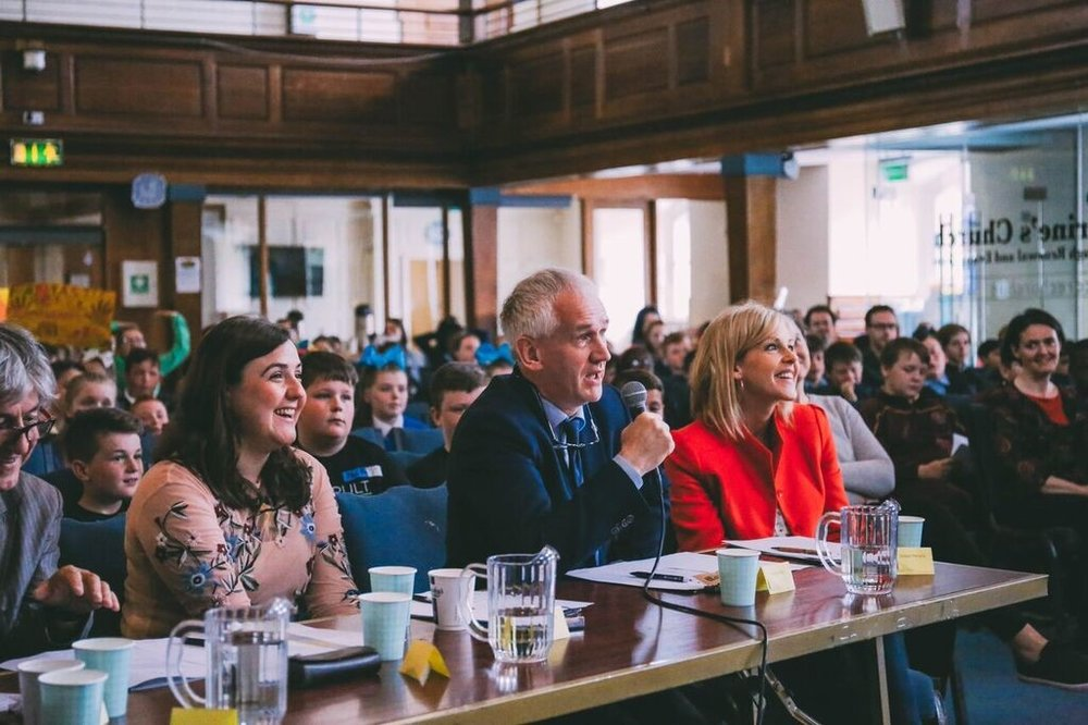 Judges asking questions, (left to right) Fiach MacConghail, Alice Dawson, Joe Carthy and Sinéad Moriarty.