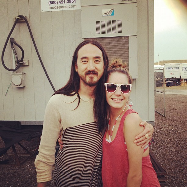 Snuggling up with Steve AOKI backstage at VELD