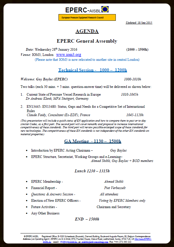 EPERC General Assembly 28 Jan 16 Agenda