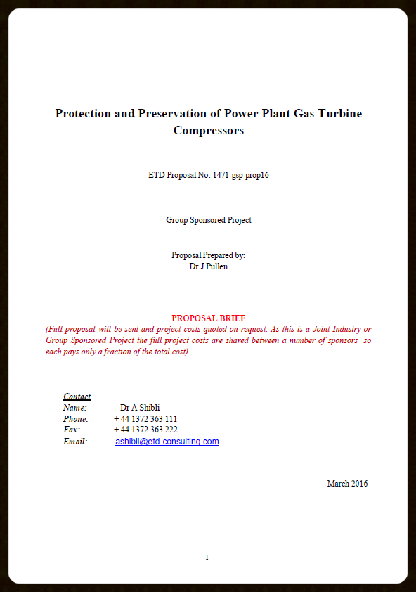 ETD Consulting-Protection & Preservation of Compressors in